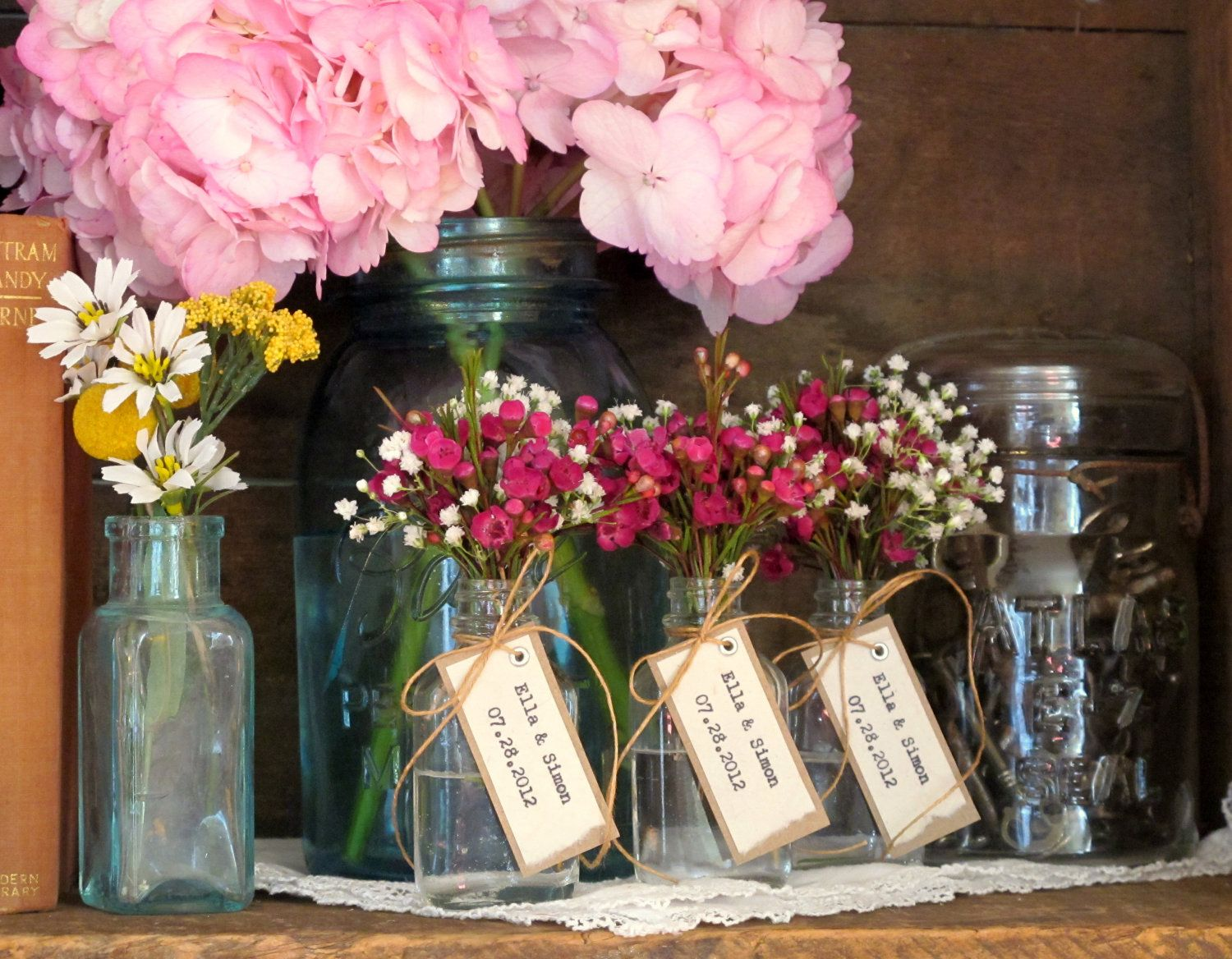 Unique Wedding Favor Bridal Shower Bride Groom Names W Date Rustic Vintage Inspired Natural By Joblake On Etsy