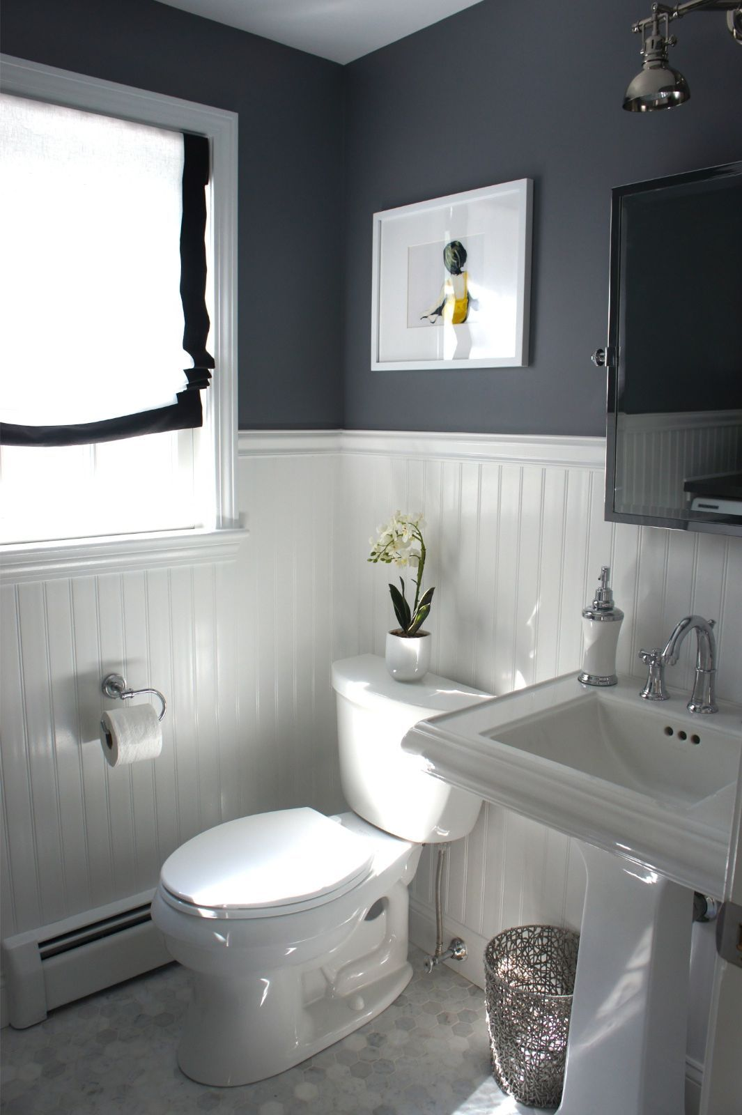 Inspiration Half Bathroom Design With Dark Wall And White Toilet