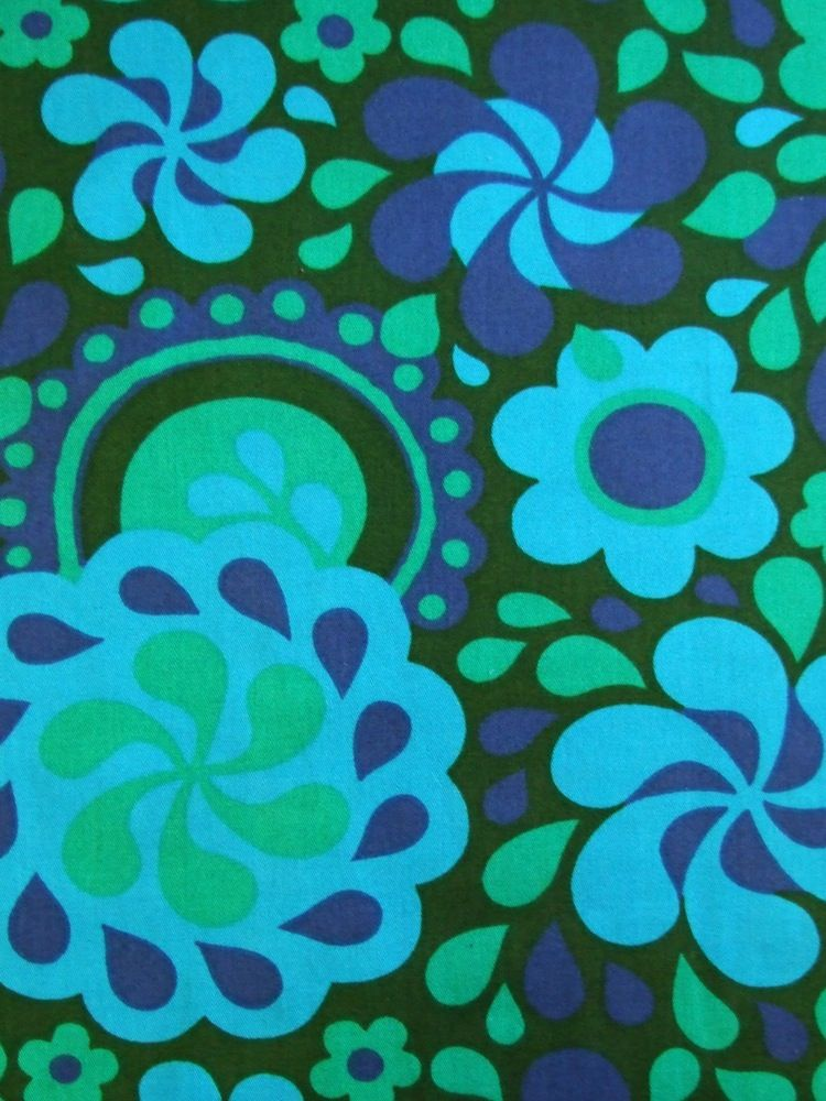 Image of Swirly 60s floral fabric - available from Rainbow Vintage ...