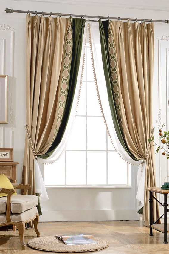 Ry3 Light Brown Olive Velvet 2 In 1 Window Curtain Panel White