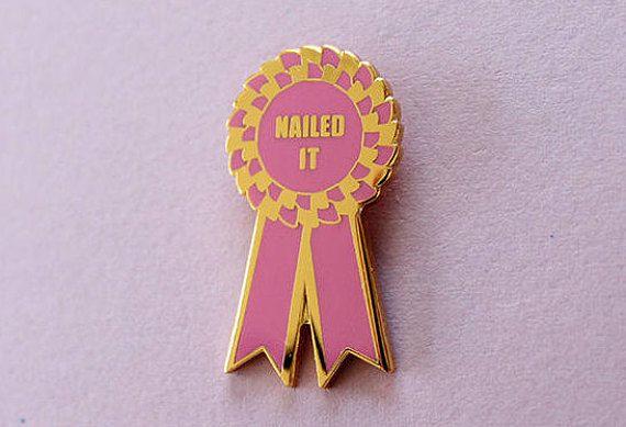 Prize Ribbon Enamel Pin | Birthday Wants | Pin badges, Pin