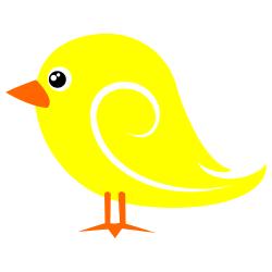 Bird yellow. Clipart birds small flowers