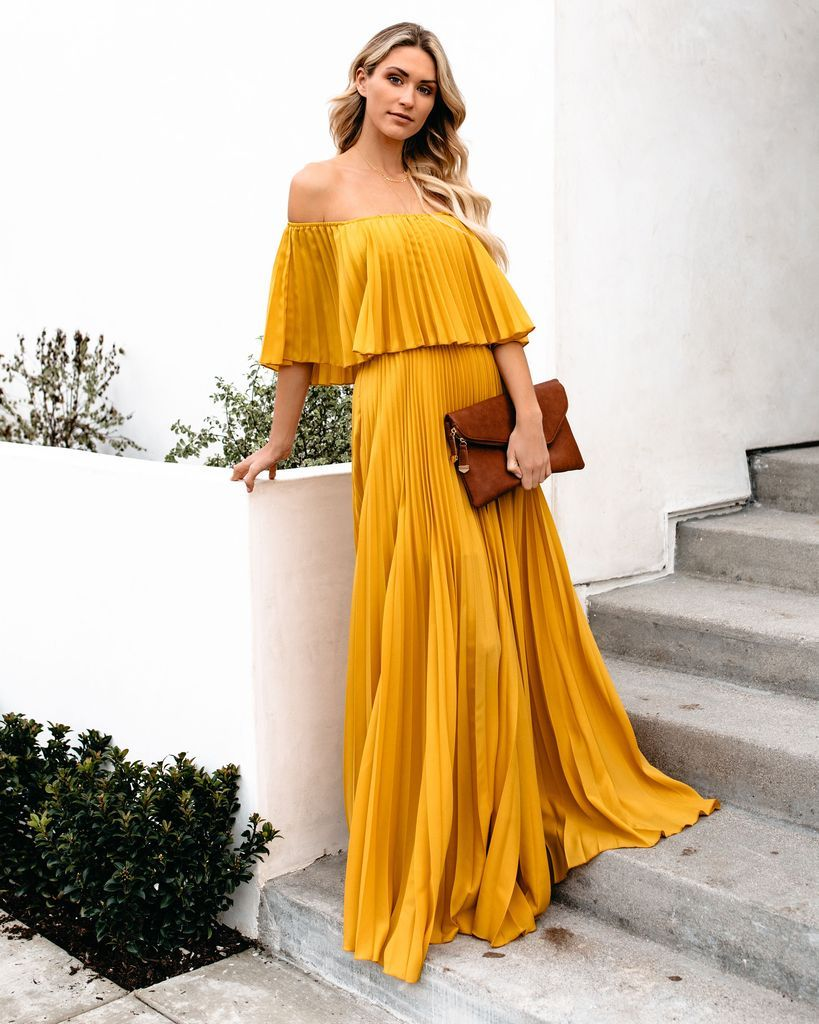 8972781a059 Click to shop our website or follow us at  VICIDOLLS for all the latest  updates + fashion inspo! Eternal Love Pleated Maxi Dress - Mustard