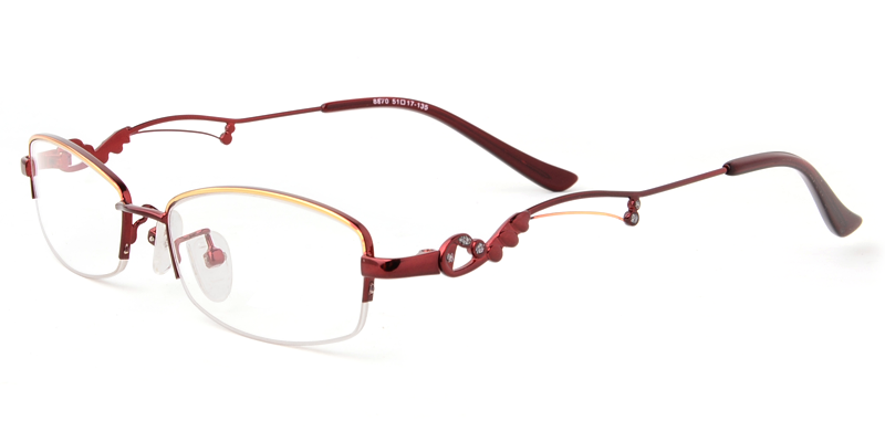 8bef28396c6 These semi-rimless eyeglasses look a little stately because of the unique  temple. These