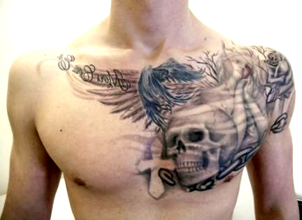 56 Ideas Tattoo For Men Skull Chest Piece 56 Ideas Tattoo For Men Skull 56 Ideas Tat In 2020 Tattoos For Guys Chest Piece Tattoos Small Shoulder Tattoos