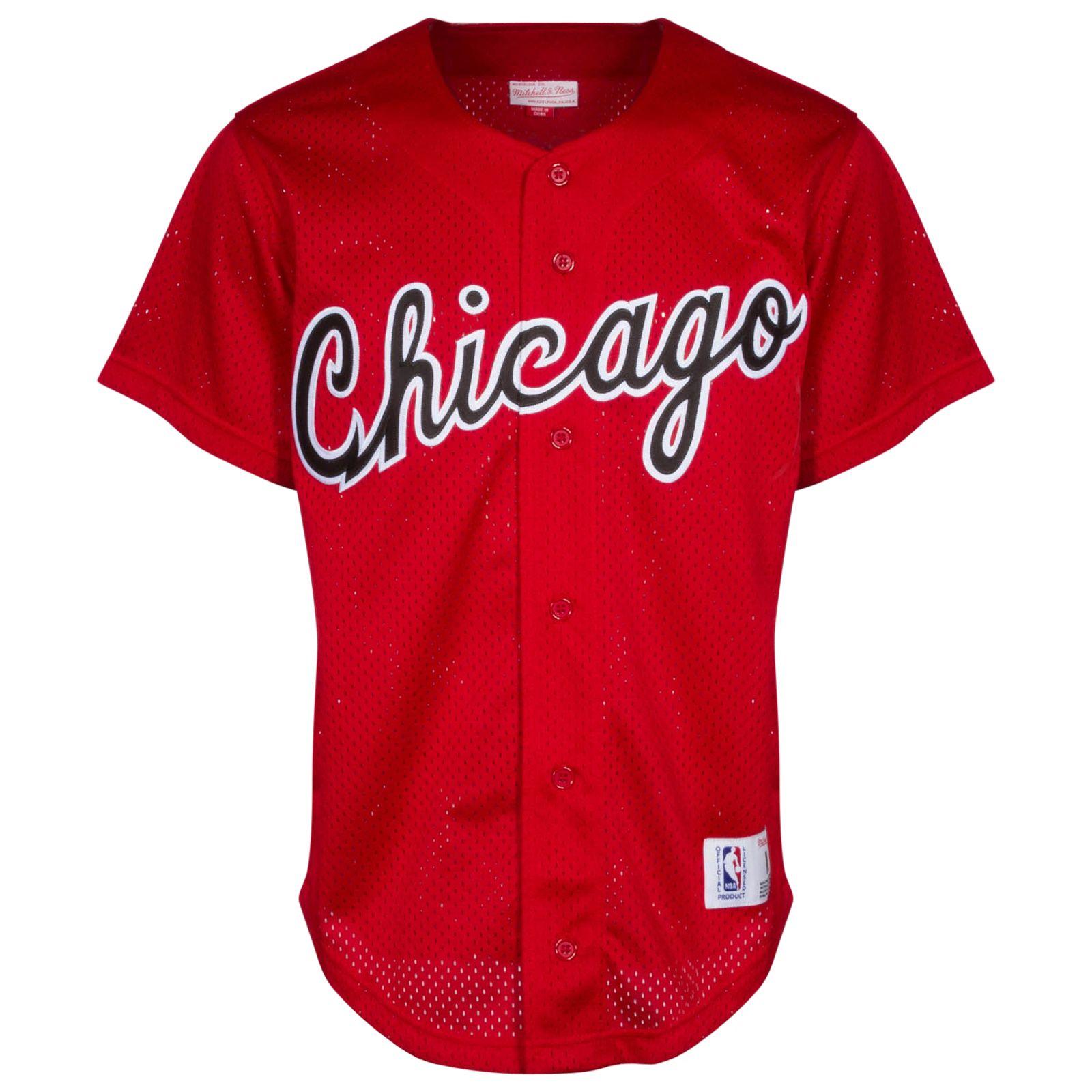 94fc3b2153a Chicago Bulls Men s Red Button-Up Baseball Jersey by Mitchell   Ness   Chicago  Bulls  ChicagoBulls