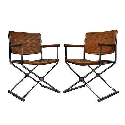 Vtg Pair Mid Century Modern Woven Leather Chrome Sled Chairs Ward Bennett Styl A | eBay