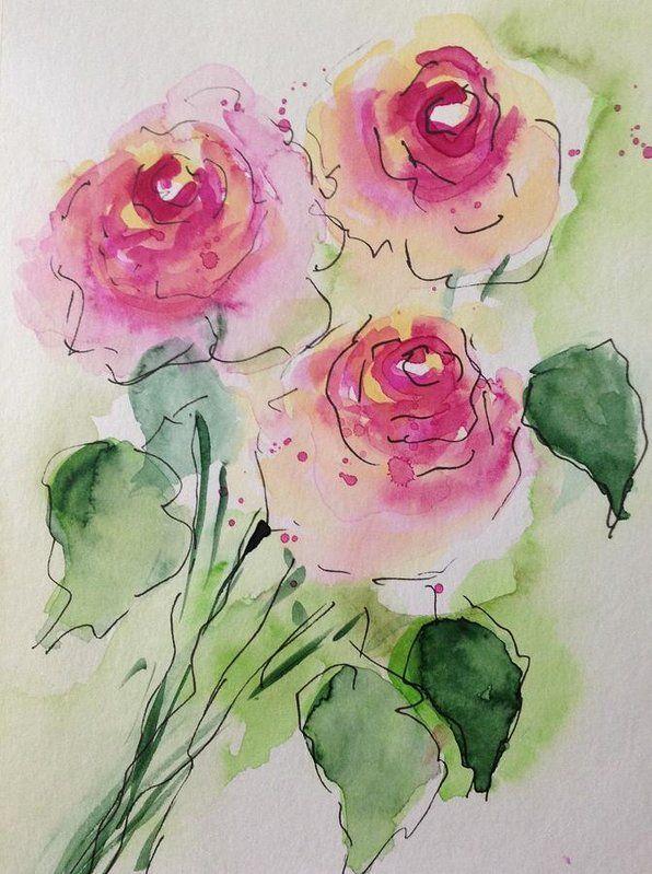 Three Pink Roses 2 Art Print by Britta Zehm