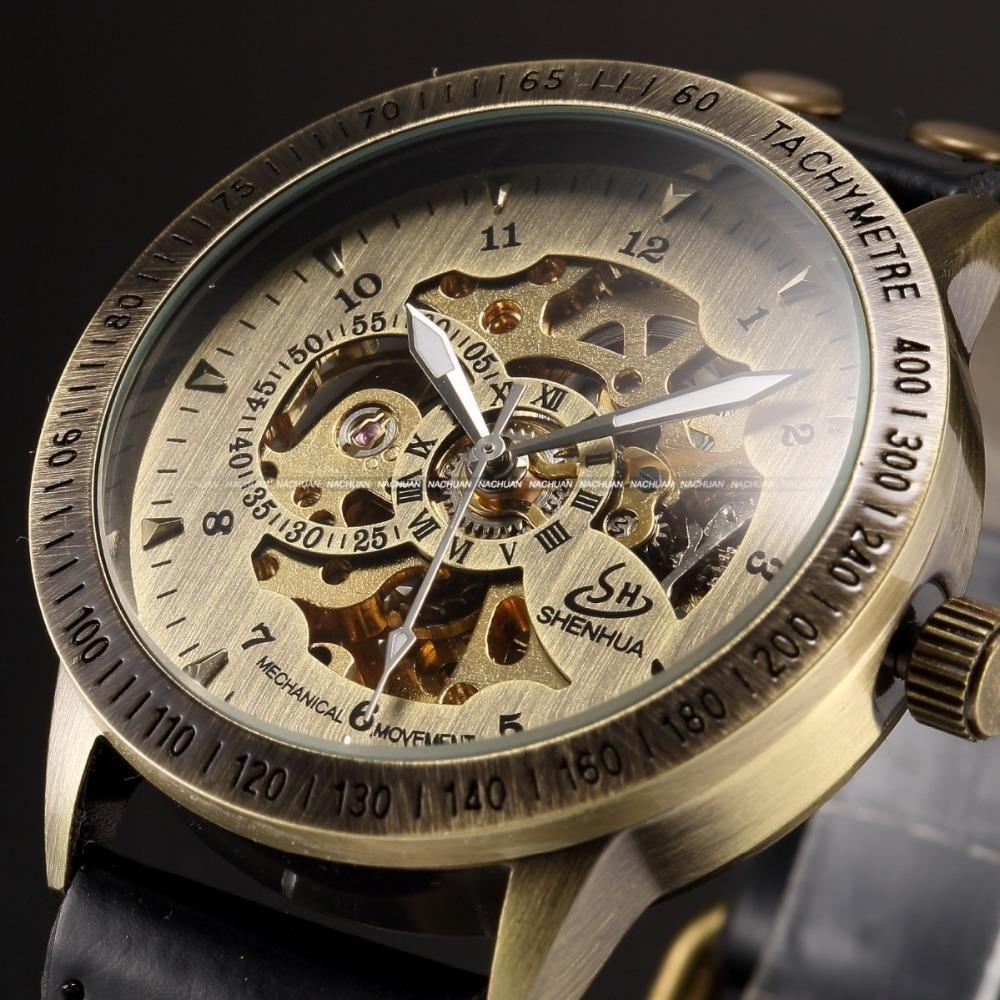 fb1da9d0993 Relógio de pulso Vintage Bronze masculino pulseira de couro antigo  Steampunk de esqueleto mecânico automático - Frete Grátis