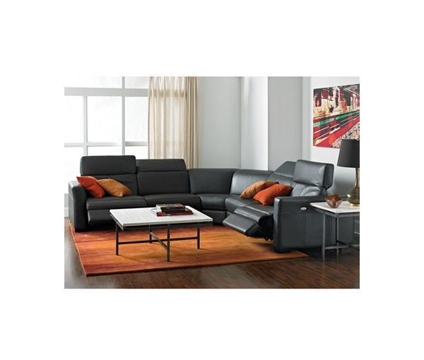 Macy S Nicolo 5 Piece Slate Leather Reclining Sectional Sofa We Ship