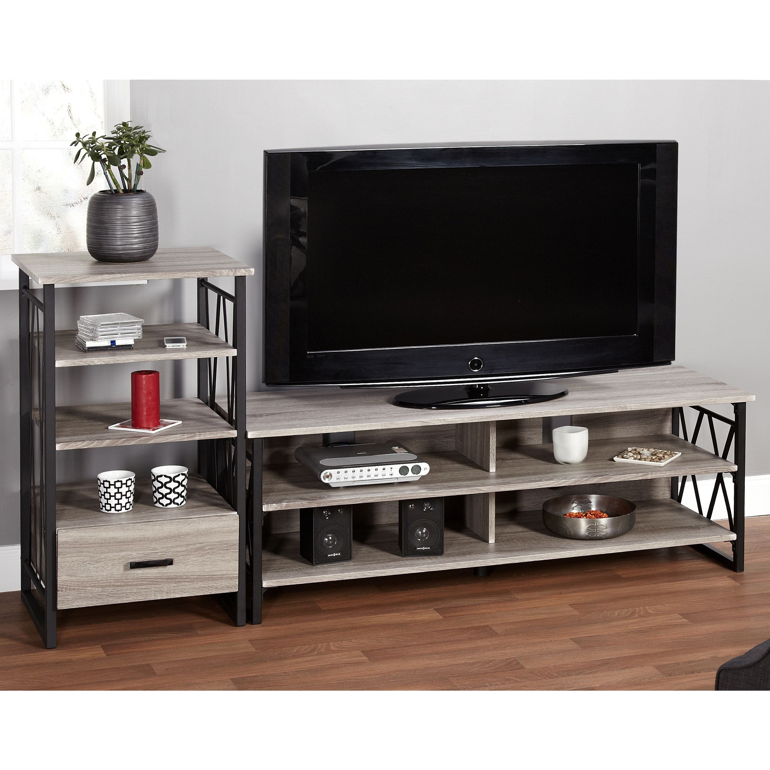 Simple Living Seneca 60 Inch Black Grey 2 Piece Tv Stand And Pier