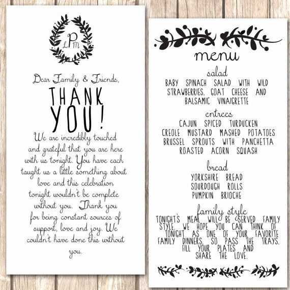 Whimsical Menu and Thank You Card for Wedding by VivaLaLovely – Wedding Card Thank You Sayings