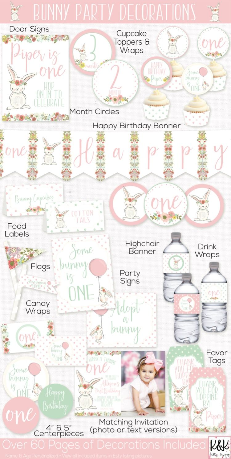 Bunny Birthday Party Decorations, Some Bunny is One, Spring Birthday, First Birthday Girl, Shabby Chic, Girls 1st Birthday, Easter Party #firstbirthdaygirl