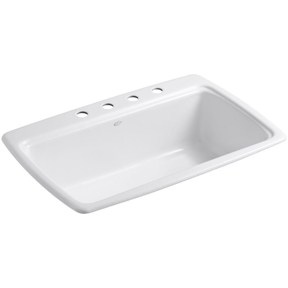 Kohler Cape Dory Drop In Cast Iron 33 4 Hole Single Basin Kitchen Sink White