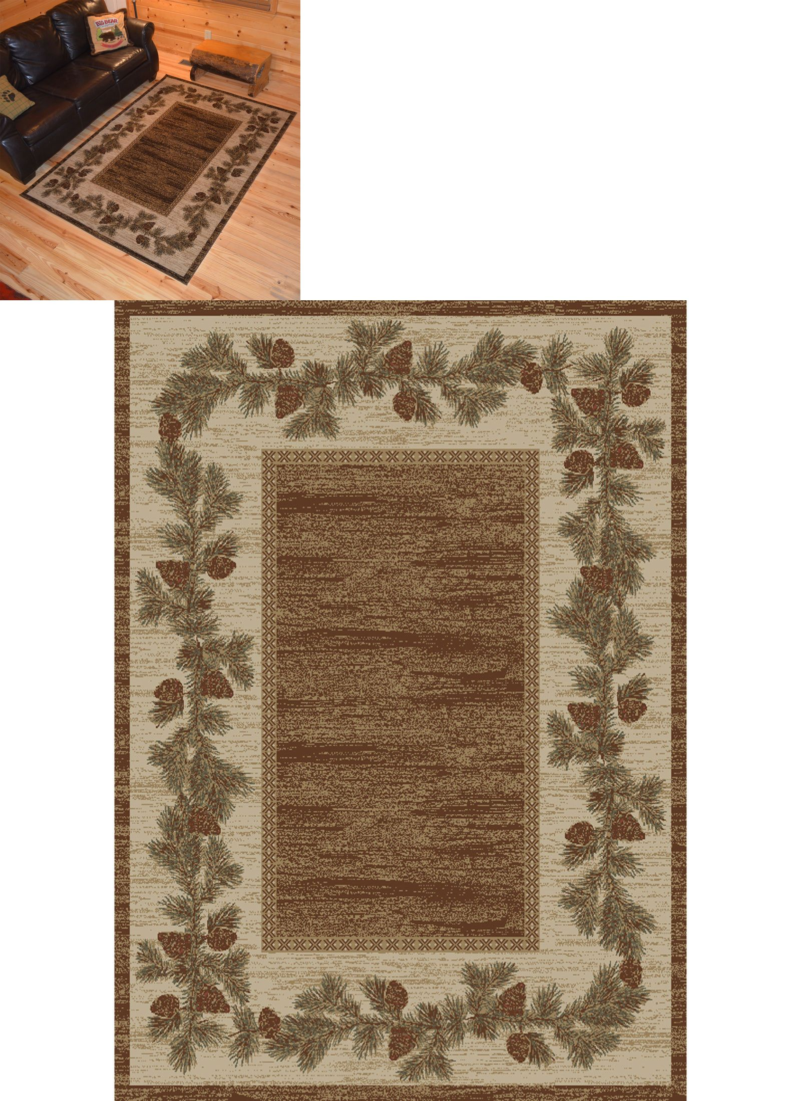 Area Rugs 45510 Lodge Cabin Rustic Pinecone Brown Rug Free Shipping It Now Only 215 On Ebay