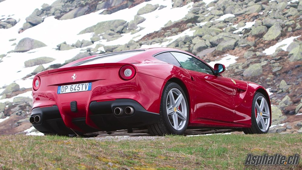 ferrari f12 berlinetta in its rosso berlinetta launch color at the top of the st gotthard pass. Black Bedroom Furniture Sets. Home Design Ideas