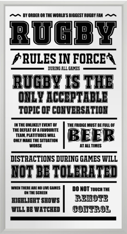 Rugby rules in force poster