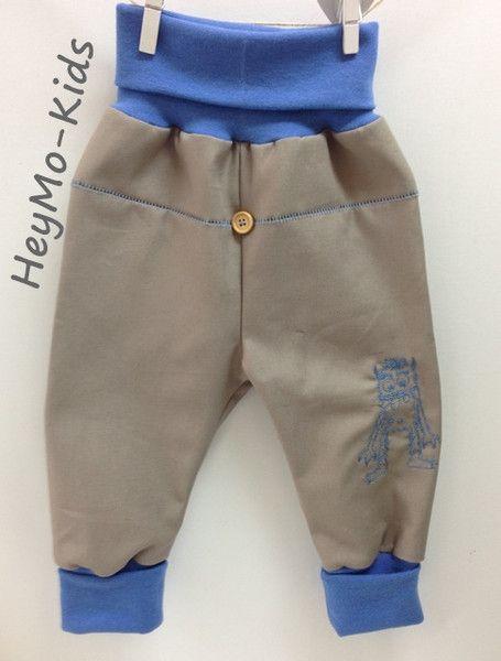 Pumphose  Kritzelmonster blau Gabardine von HeyMo Kids auf DaWanda.com