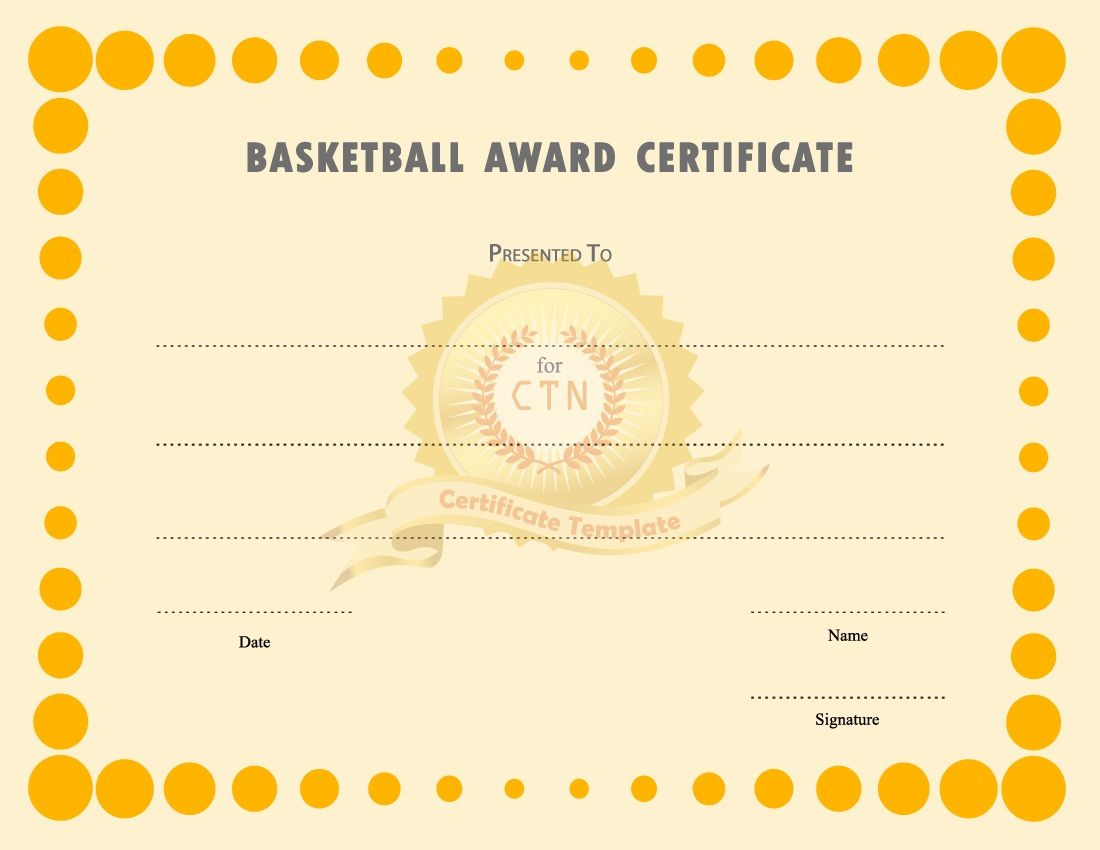 Basketball Award Certificate to Print | Activity Shelter | Blank ...