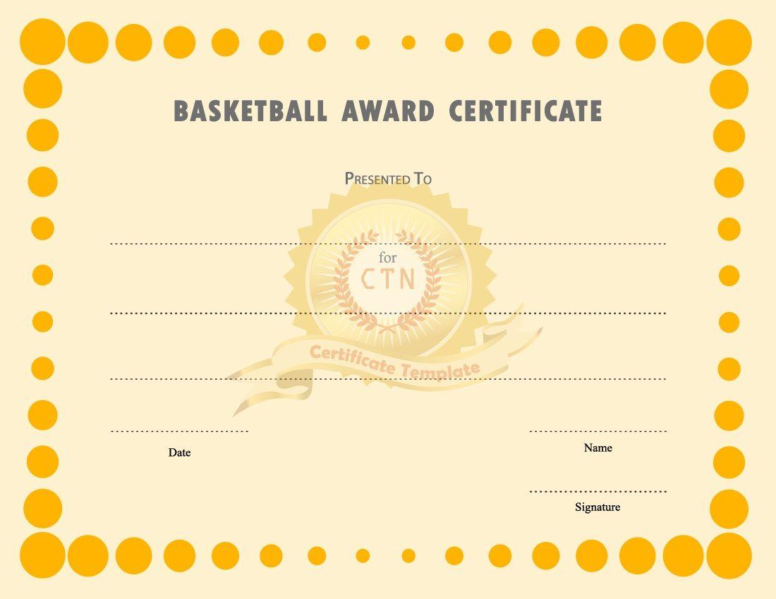 Basketball Award Certificate To Print
