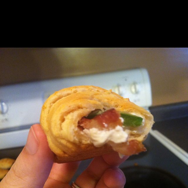 Bacon, cream cheese, and jalapeños rolled up in crescents! Yum!