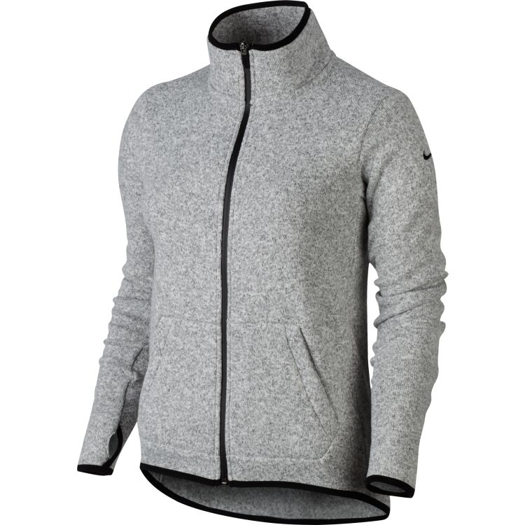 Nike Women's Hypernatural Full Zip Cardigan-Dk Grey Heather/ Black