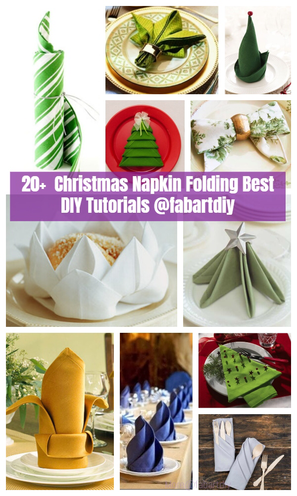 20+ Best DIY Napkin Folding Tutorials for Christmas #diynapkinfolding 20+ Best DIY Christmas Napkin Folding Tutorials #diynapkinfolding