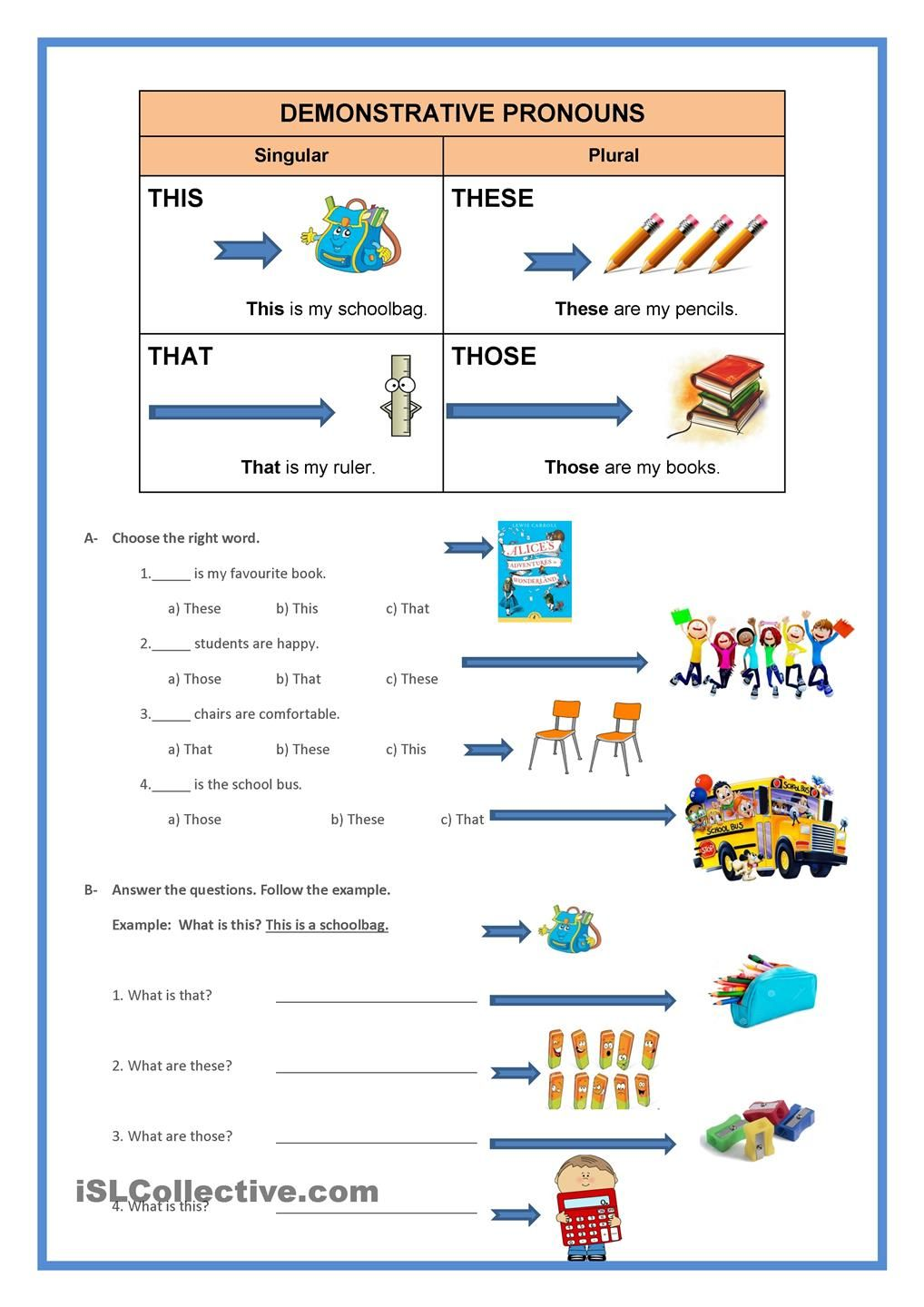 Demonstrative Pronouns Pronoun Worksheets Demonstrative