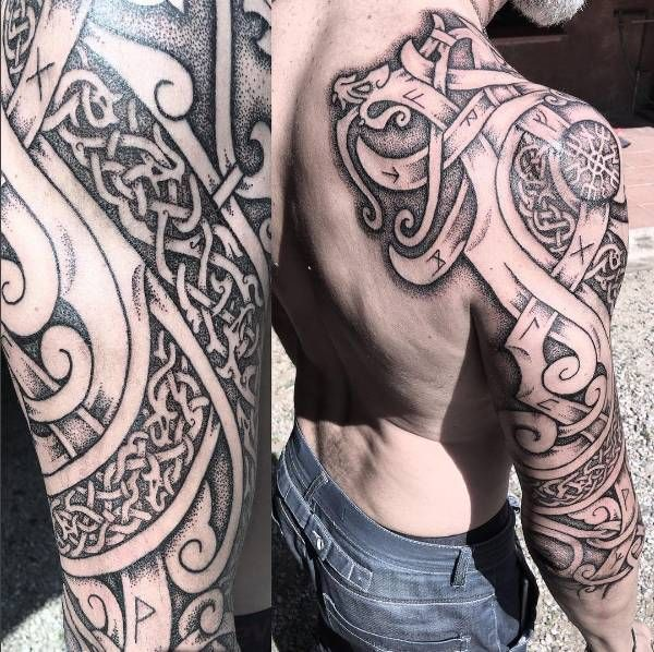 Nordic Dragons And Wolves Celtic Sleeve Tattoos Viking Tattoo Sleeve Knot Tattoo