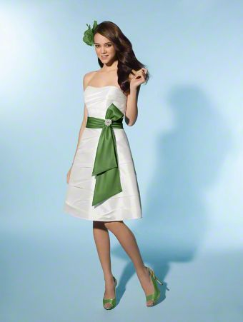 Short wedding dress with green sash - spaghetti straps optional ...