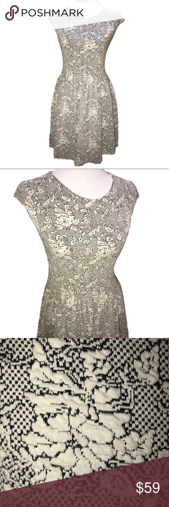 Topshop Quilted Jacquard Floral Dress Black Cream Topshop