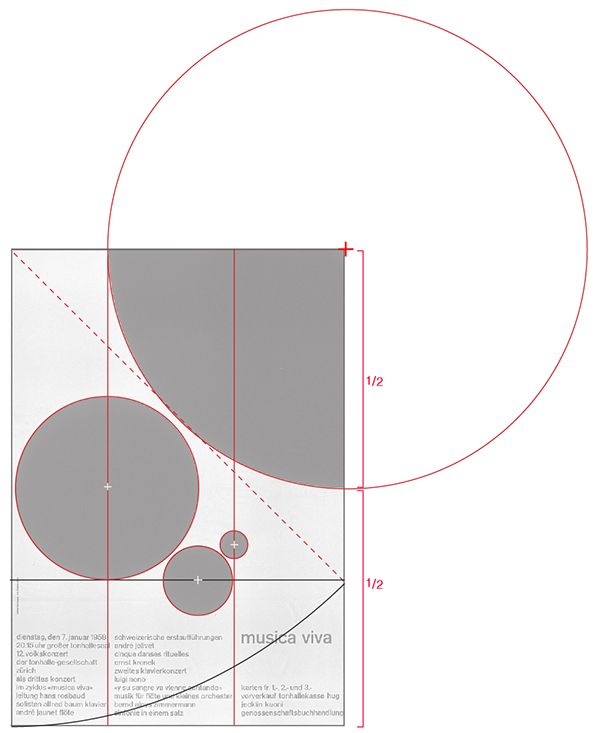 The Format Is A Root 2 Rectangle And The Square Of The Rectangle Pierces The Lowest Circle As With All Of Muller Page Layout Design Grid Design Layout Design