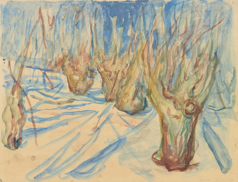 Edvard Munch Rugged Tree Trunks In The Snow 1923 25 Watercolour Gouache The Munch Museum Oslo