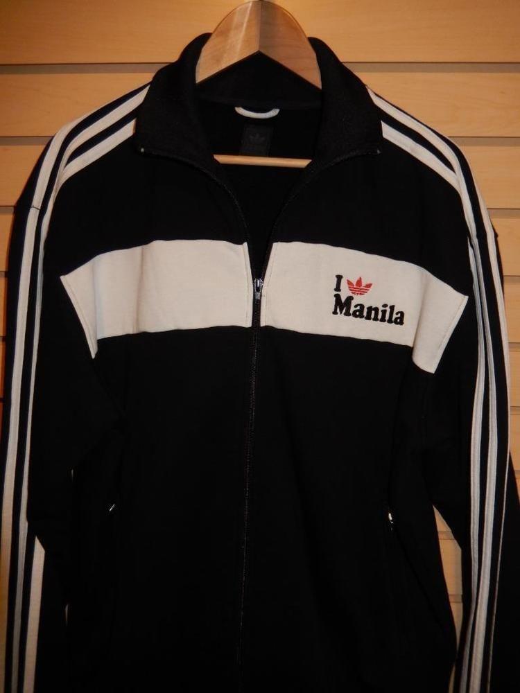 Rare 2008 Adidas Originals I Love Manila Track Jacket Full Zip Black Cotton Xl Adidas Track Jacket Adidas Track Track Jackets