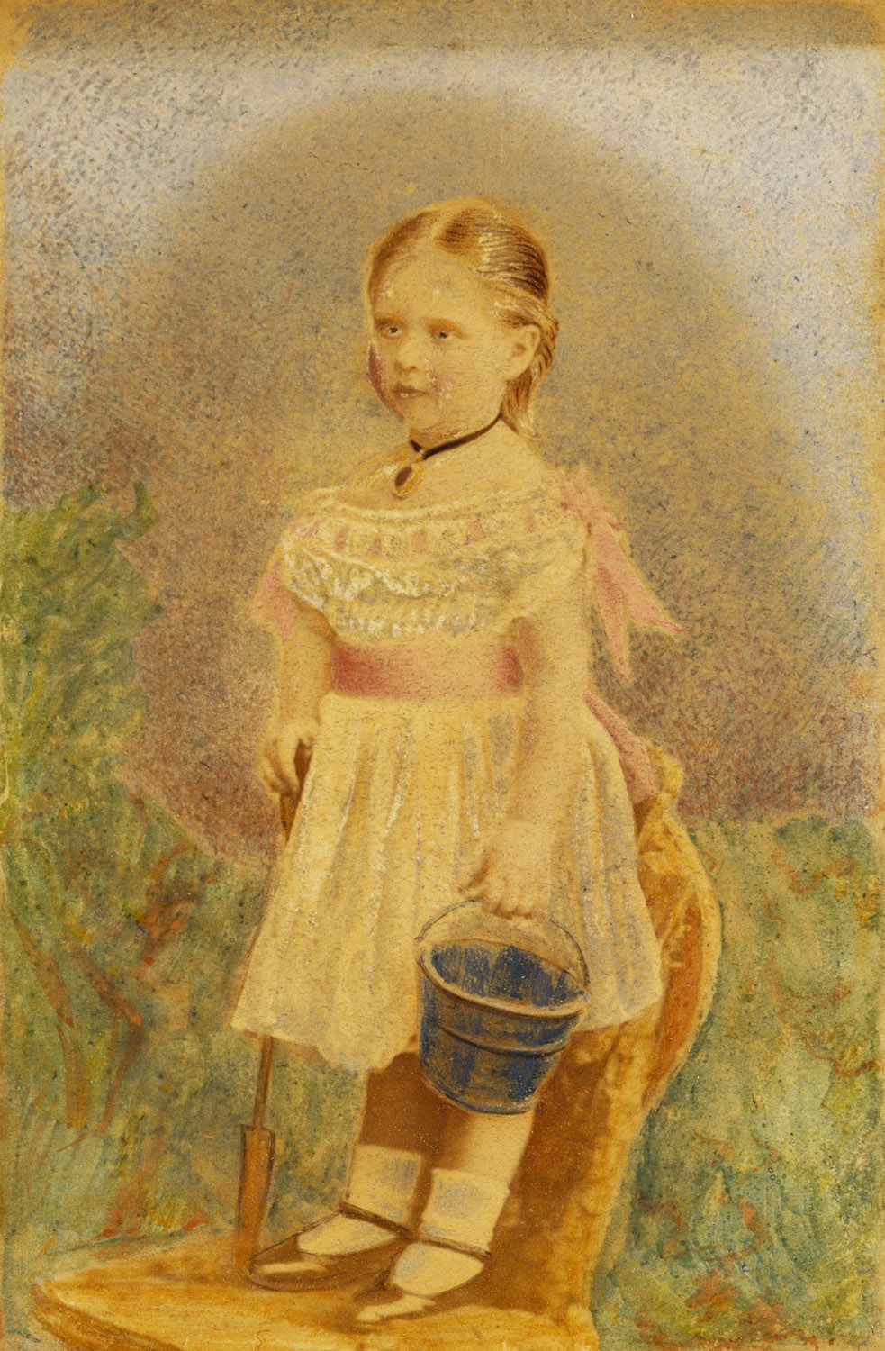 Hills & Saunders - Hand coloured photograph of a little girl with a bucket and spade  Not identified as Alix of Hesse but definately looks like a picture of her.