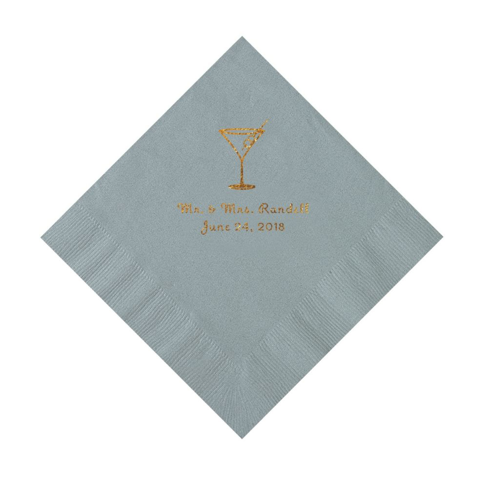 Silver Martini Glass Personalized Napkins with Gold Ink - Luncheon