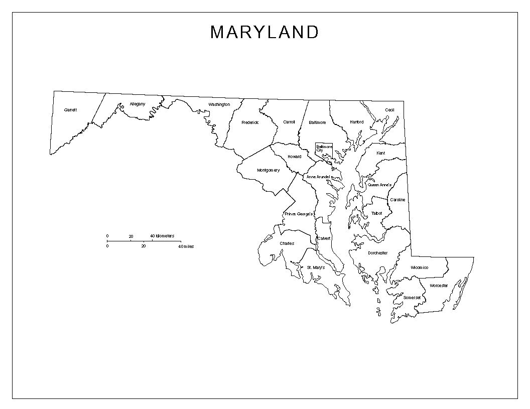 Pin Blank Maryland County Map