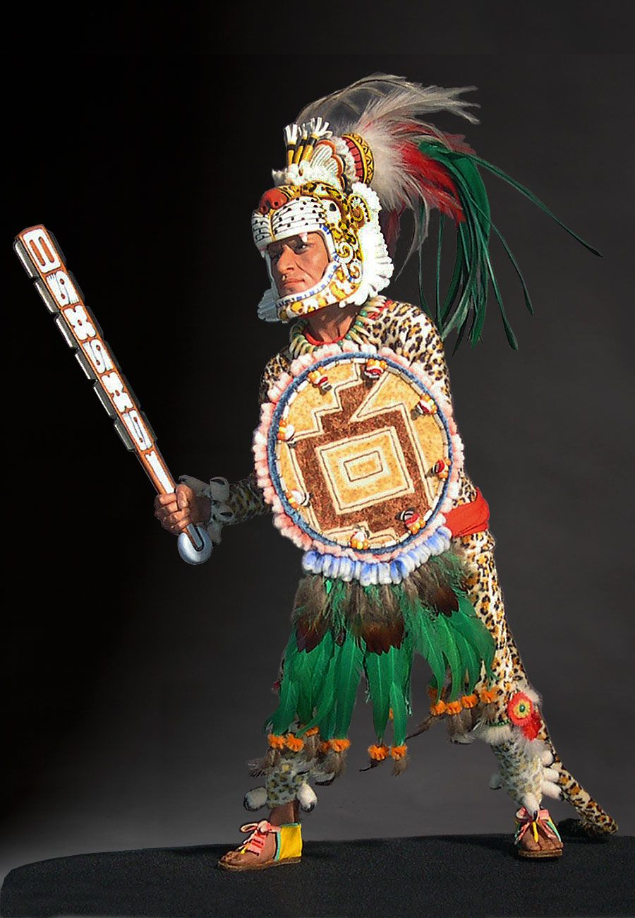 """Aztec Leopard Warrior V.1 - The Aztec Leopard Warrior was just one of the many colorful combatants that Montezuma I referred to as the """"Flowery Warriors"""" who were in the continual Aztec conflicts. They were like shock troops in the battle, but also dedicated to their own literal sacrifice. Theirs was a life of ritual and union with the """"gods."""" Their traditions and training gave them a special standing in Aztec society. That culture is still alive and practiced in Mexico today."""
