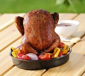 Beer Can Chicken Roaster. Infuse flavor into chicken on the grill or in the oven.  Admit it, youre high maintenance: you want flavor and moisture, and a crisp exterior. This grill-or-oven roaster lets you make iconic beer can chicken two different ways: use the cone inside of the base or separately. The wide base holds liquid and spices of your choice and may also be used to hold and roast vegetables. indoor-i-outdoor-grilling-products #beer #brewbeer #homemadebeer #ilovebeer #howtomakebeer