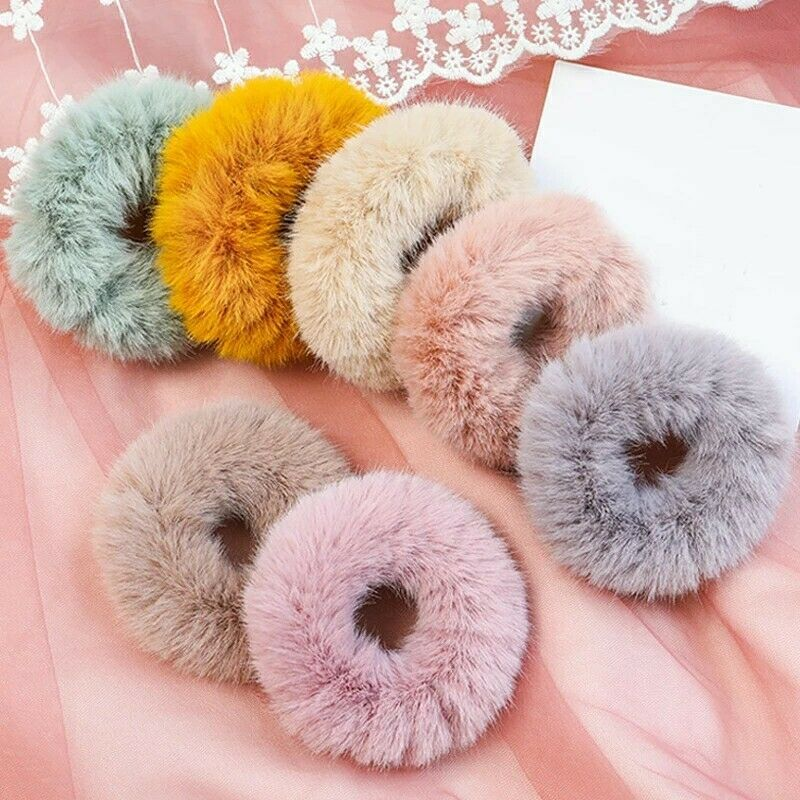 Women Winter Elastic Hair Rubber Band Soft Plush Hair Accessories