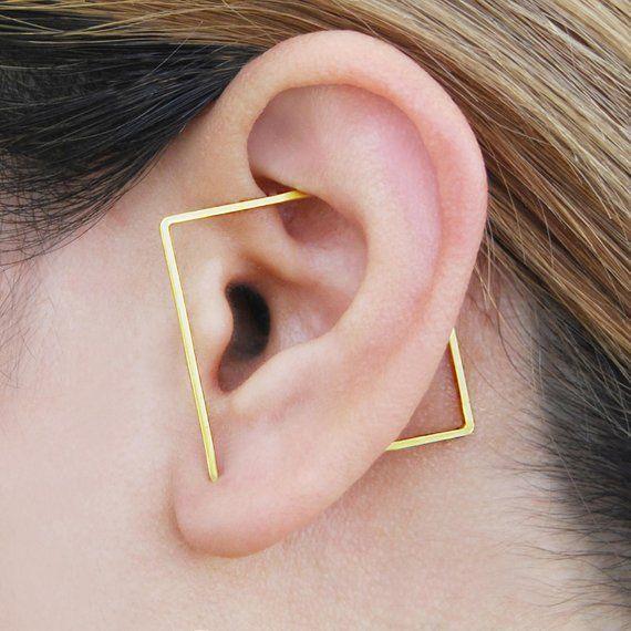 Escalador de orejas de triángulo de oro, pendientes de triángulo, pendientes vanguardistas, pendientes de diseñador, pendientes modernos, orugas, pendientes de oro, Otis Jaxon, regalo