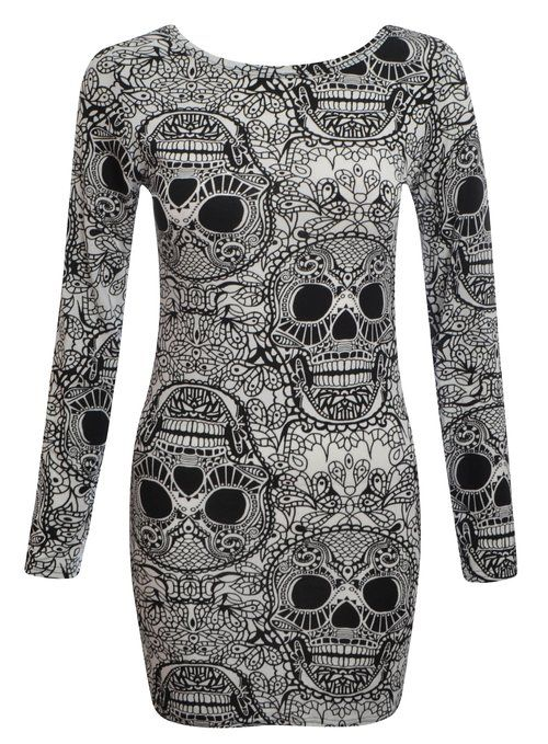 Womens Ladies Long Sleeve Tribal Aztec Skull Print Bodycon Tunic Dress UK 8 To 14 (M/L (UK 12/14), Aztec Skull Print)
