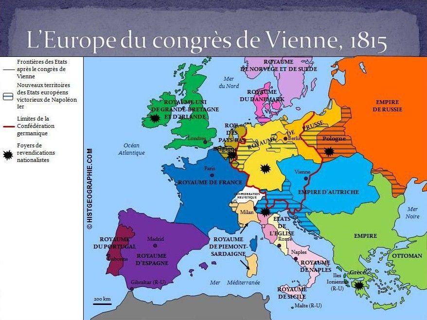Carte Europe Vienne.Carte De L Europe Du Congres De Vienne En 1815 Source