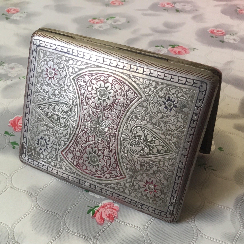Vintage Cigarette case, engraved silver tone metal cigarette case ...