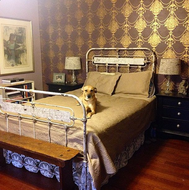 Art Panel Bed Frame With Queen Mattress Vintage Bed Frame