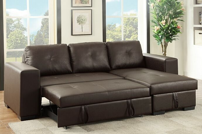 poundex 6930 1 2 pc everly espresso faux leather sectional sofa set rh pinterest ca