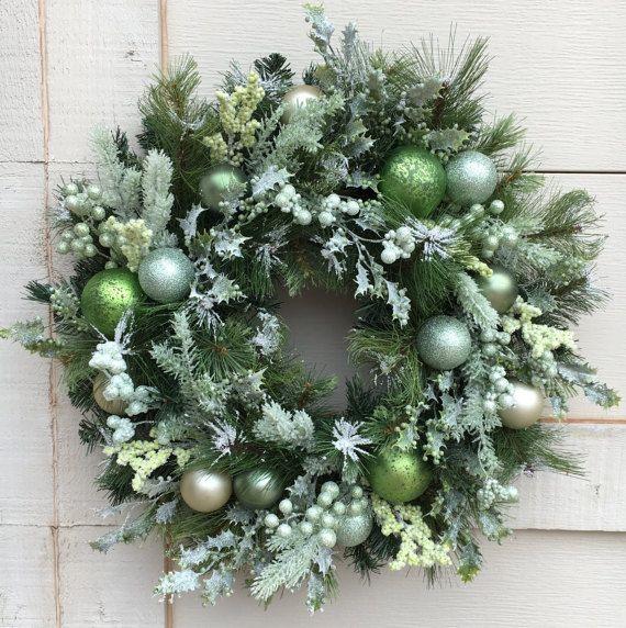 Christmas wreathFlocked christmas wreathGreen by DesignsbySheilaB