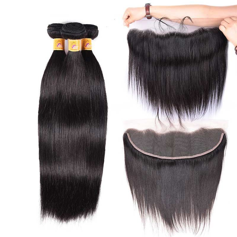 Ptop Grade Peruvian Virgin Hair With Frontal Closure Straight