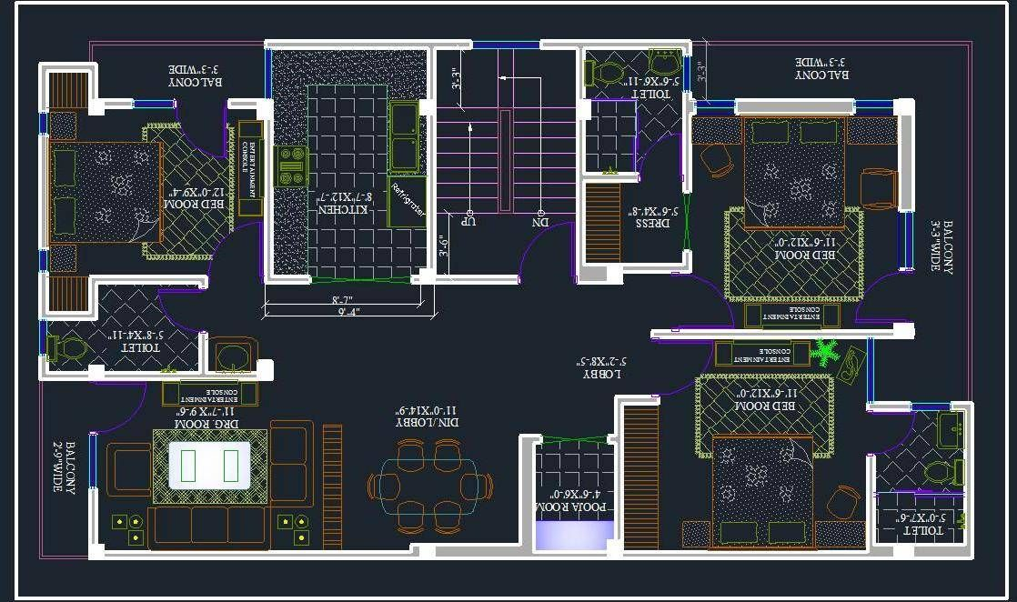 3 bhk apartment space planning in 2020 Apartment layout