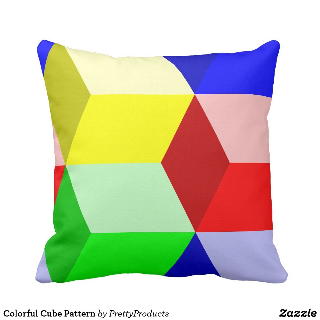 Colorful cube pattern throw pillow nicelooking pillow designs